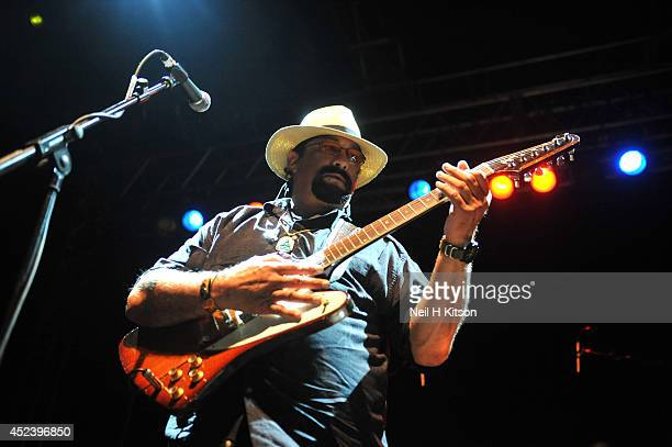 Steven Seagal of the Steven Seagal Blues Band performs on stage at O2 Academy on July 19 2014 in Leeds United Kingdom