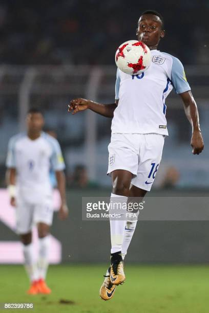 Steven Sessegnon of England controls the ball during the FIFA U17 World Cup India 2017 Round of 16 match between England and Japan at Vivekananda...