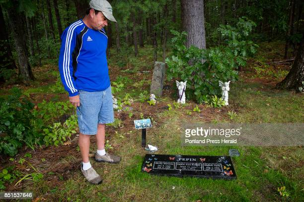 Steven Shields at the site in Pine Grove Cemetery where a new headstone etched with butterflies and engraved with the names of his niece Shiloh Pepin...