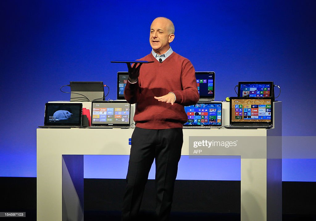 Steven Sinofsky president of Microsoft's Windows division introduces a new tablet computer and Windows 8 software to the media in Shanghai on October...