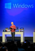 Steven Sinofsky president of Microsoft's Windows division speaks during a press conference to display Microsoft new tablet computer and Windows 8...