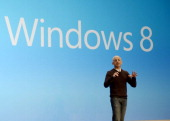 Steven Sinofsky President of the Windows and Windows Live Division at Microsoft spekas during a press conference at Pier 57 to officially launch...