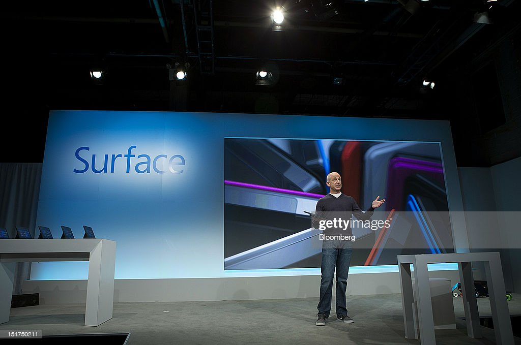 Steven Sinofsky, president of the Windows group at Microsoft Corp., speaks during an event in New York, U.S., on Thursday, Oct. 25, 2012. Microsoft Corp. will be constrained in a contest against Apple Inc. in the market for handheld computers by unveiling a tablet that doesn't work with some of the most widely used downloadable applications. Photographer: Scott Eells/Bloomberg via Getty Images
