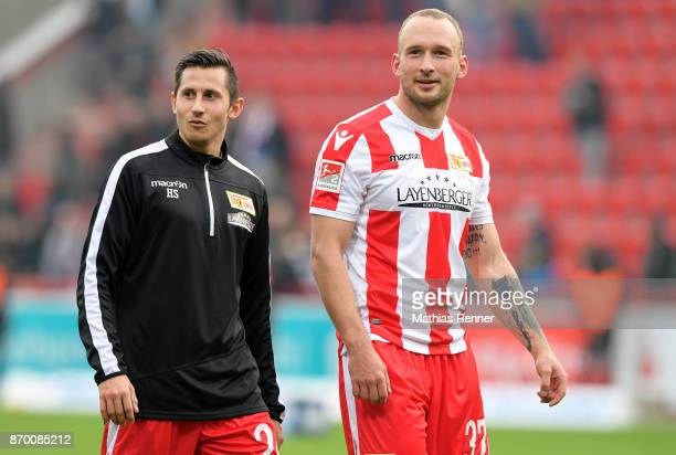 Steven Skrzybski and Toni Leistner of 1 FC Union Berlin after the game between Union Berlin and dem FC St Pauli on November 4 2017 in Berlin Germany