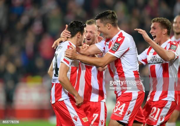 Steven Skrzybski Marcel Hartel Fabian Schoenheim and Grischa Proemel of 1 FC Union Berlin celebrate after scoring the 40 during the Second Bundesliga...