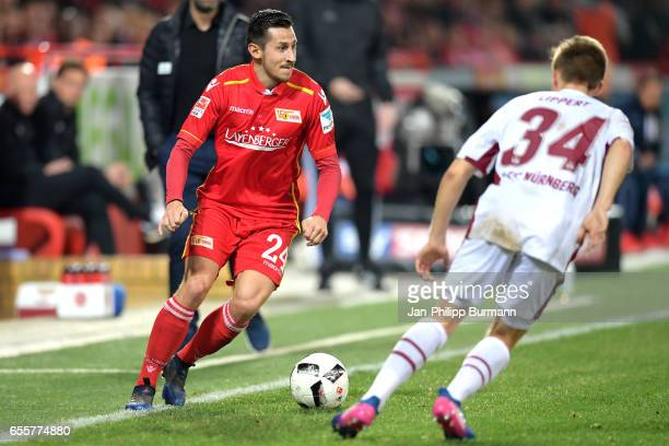 Steven Skrzybski of 1 FC Union Berlin and Dennis Lippert of 1 FC Nuernberg during the game between 1 FC Union Berlin and 1 FC Nuernberg on March 20...