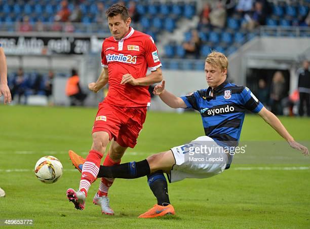 Steven Skrzybski of 1 FC Union Berlin and Lukas Gugganig of FSV Frankfurt during the match between FSV Frankfurt and Union Berlin on September 23...