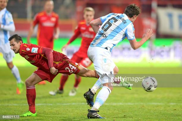 Steven Skrzybski of 1 FC Union Berlin and Sebastian Boenisch of TSV 1860 Muenchen during the Second Bundesliga match between 1 FC Union Berlin and...