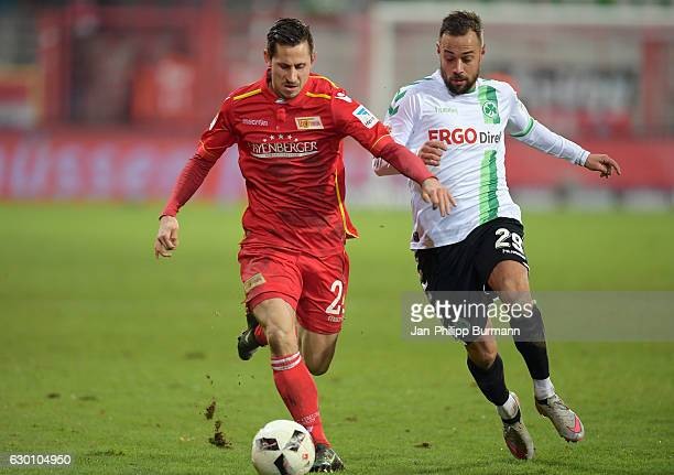 Steven Skrzybski of 1 FC Union Berlin and Sebastian Heidinger of the SpVgg Greuther Fuerth during the game between dem 1 FC Union Berlin and SpVgg...