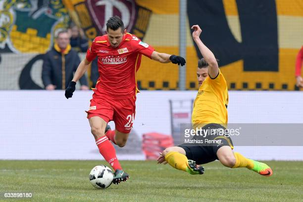 Steven Skrzybski of 1 FC Union Berlin and Stefan Kutschke of SG Dynamo Dresden during the game between SG Dynamo Dresden and dem 1 FC Union Berlin on...