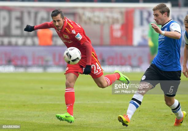 Steven Skrzybski of 1 FC Union Berlin and Tom Schuetz of Arminia Bielefeld during the game between dem 1 FC Union Berlin and DSC Arminia Bielefeld on...