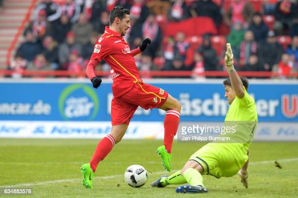 Steven Skrzybski of 1 FC Union Berlin and Wolfgang Hesl of Arminia Bielefeld during the game between dem 1 FC Union Berlin and DSC Arminia Bielefeld...