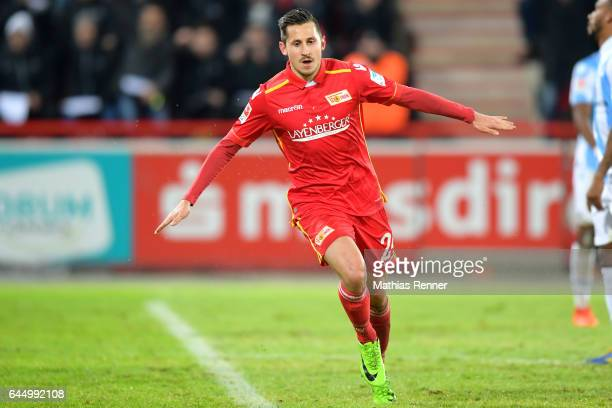 Steven Skrzybski of 1 FC Union Berlin celebrates after scoring the 10 during the game between dem 1 FC Union Berlin and dem TSV 1860 Muenchen on...