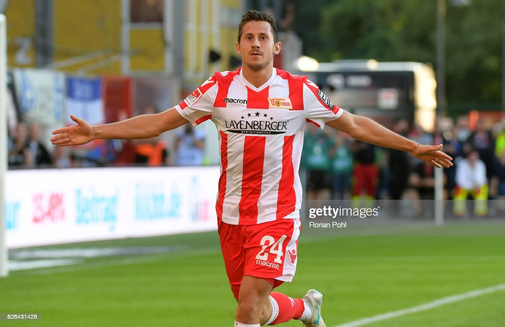 Steven Skrzybski of 1 FC Union Berlin celebrates after scoring the 4:3 during the game between Union Berlin and Kieler SV Holstein on august 4, 2017 in Berlin, Germany.