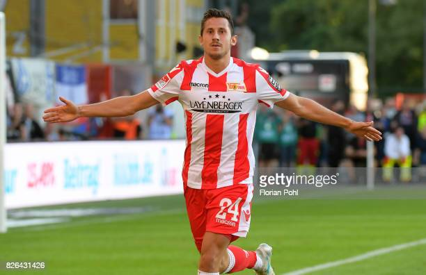 Steven Skrzybski of 1 FC Union Berlin celebrates after scoring the 43 during the game between Union Berlin and Kieler SV Holstein on august 4 2017 in...
