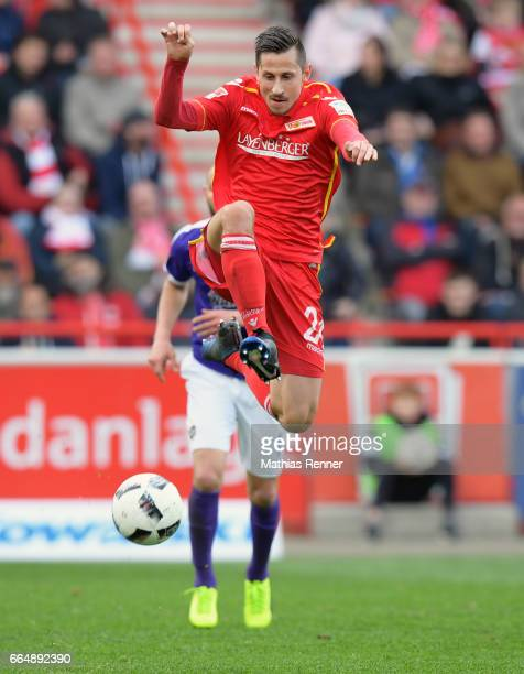 Steven Skrzybski of 1 FC Union Berlin during the Second Bundesliga match between Union Berlin and Erzgebirge Aue on April 5 2017 in Berlin Germany