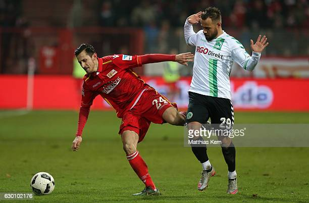 Steven Skrzybski of Berlin battles for the ball with Sebastian Heidinger of Fuerth during the Second Bundesliga match between 1 FC Union Berlin and...