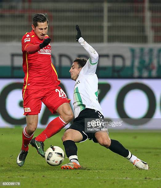 Steven Skrzybski of Berlin battles for the ball with Sercan Sararer of Fuerth during the Second Bundesliga match between 1 FC Union Berlin and SpVgg...