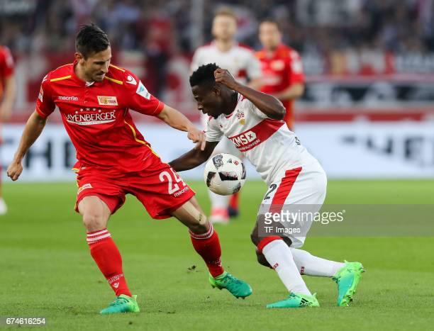 Steven Skrzybski of Union Berlin and Ebenezer Ofori of Stuttgart battle for the ball during the Second Bundesliga match between VfB Stuttgart and 1...