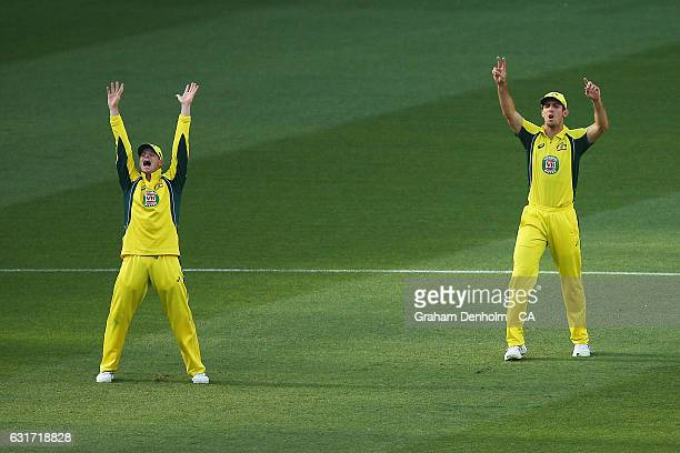 Steven Smith and Mitchell Marsh of Australia appeal unsuccessfully during game two of the One Day International series between Australia and Pakistan...