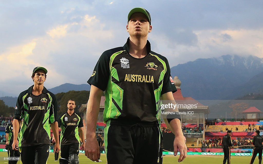 Steven Smith Captain of Australia looks onafter his team lost during the ICC World Twenty20 India 2016 match between Australia and New Zealand at the...