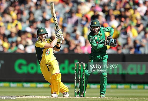 Steven Smith of Australia bats as wicketkeeper Mohammad Rizwan of Pakistan looks on during game two of the One Day International series between...