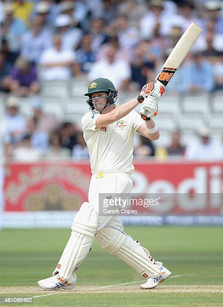 Steven Smith of Australia bats during day two of the 2nd Investec Ashes Test match between England and Australia at Lord's Cricket Ground on July 17...