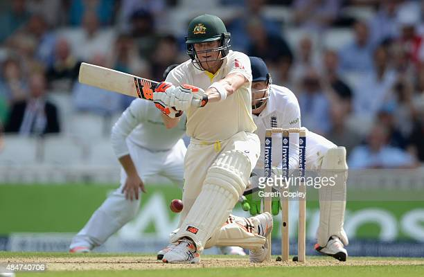 Steven Smith of Australia bats during day two of the 5th Investec Ashes Test match between England and Australia at The Kia Oval on August 21 2015 in...