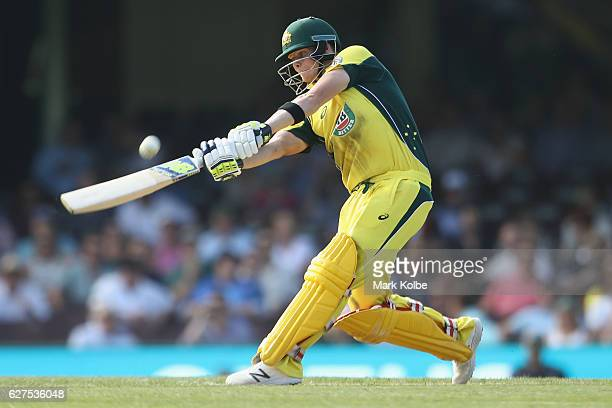 Steven Smith of Australia bats during game one of the One Day International series between Australia and New Zealand at Sydney Cricket Ground on...