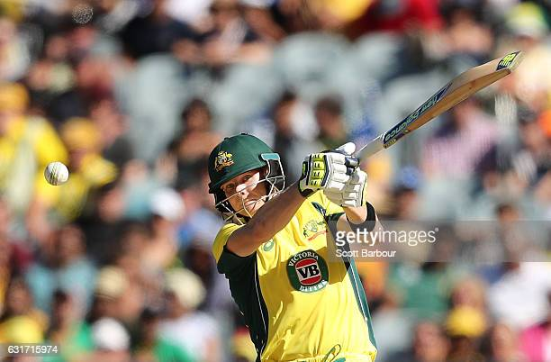 Steven Smith of Australia bats during game two of the One Day International series between Australia and Pakistan at Melbourne Cricket Ground on...