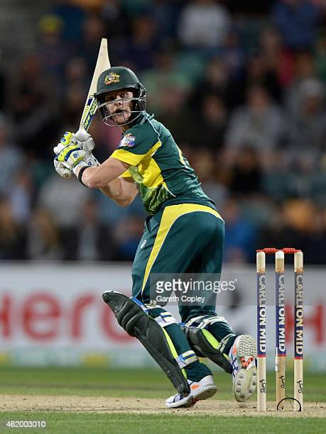 Steven Smith of Australia bats during the One Day International Tri Series match between Australia and England at Blundstone Arena on January 23 2015...