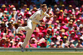 Steven Smith of Australia bowls during day three of the Fourth Test match between Australia and India at Sydney Cricket Ground on January 8 2015 in...