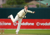 Steven Smith of Australia bowls during day two of the Tour Match between Australia A and England at Bellerive Oval on November 18 2010 in Hobart...