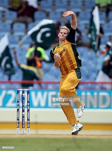 Steven Smith of Australia bowls during the semi final of the ICC World Twenty20 between Australia and Pakistan at the Beausejour Cricket Ground on...