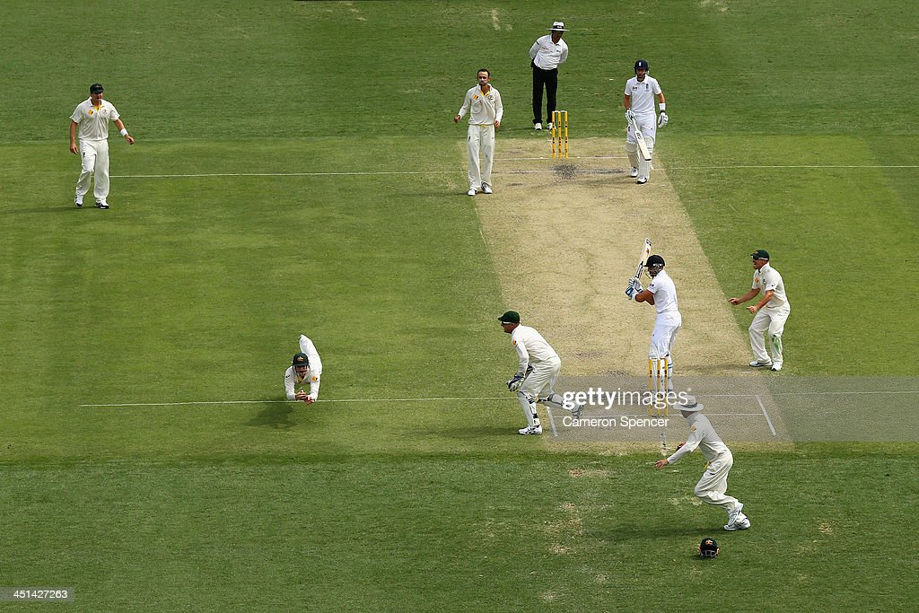 Steven Smith of Australia catches out Matt Prior of England off the delivery of Nathan Lyon during day two of the First Ashes Test match between Australia and England at The Gabba on November 22, 2013 in Brisbane, Australia.