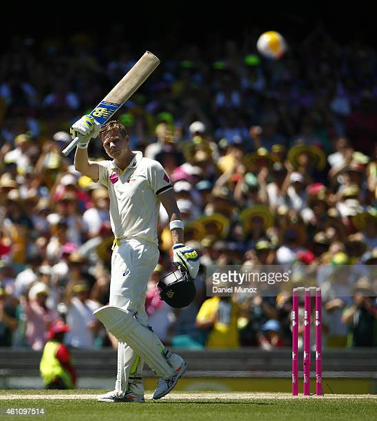 Steven Smith of Australia celebrates after scoring a century during day two of the Fourth Test match between Australia and India at Sydney Cricket...