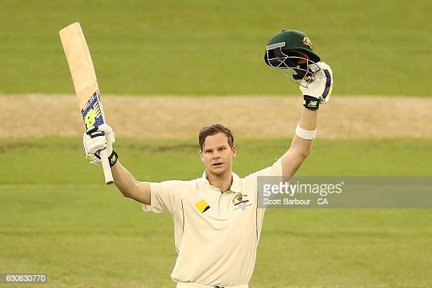 Steven Smith of Australia celebrates as he reaches his century during day four of the Second Test match between Australia and Pakistan at Melbourne...