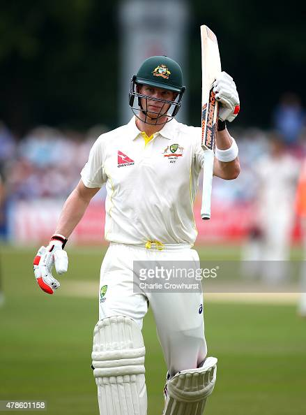 Steven Smith of Australia celebrates his century as he walks off having retired during day two of the tour match between Kent and Australia at The...