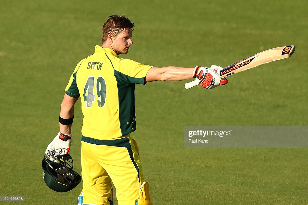 Steven Smith of Australia celebrates his century during the Victoria Bitter One Day International Series match between Australia and India at WACA on...