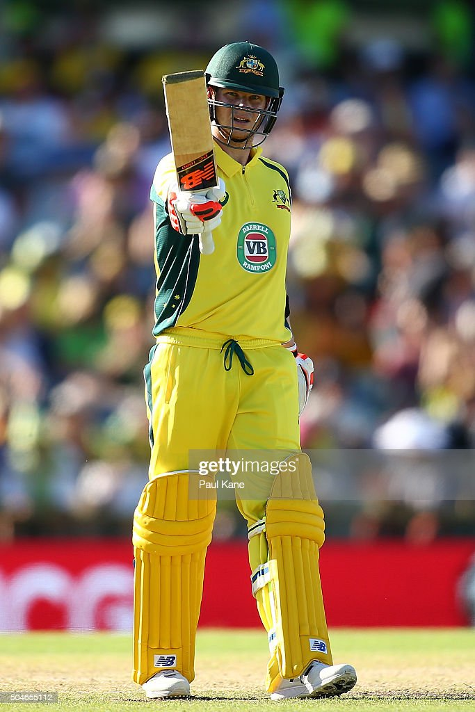 Steven Smith of Australia celebrates his half century during the Victoria Bitter One Day International Series match between Australia and India at...