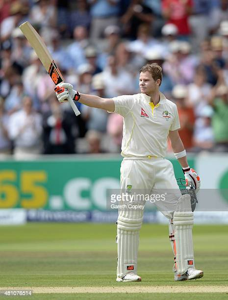 Steven Smith of Australia celebrates reaching his double century during day two of the 2nd Investec Ashes Test match between England and Australia at...
