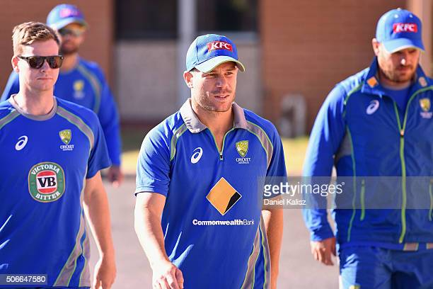 Steven Smith of Australia David Warner of Australia and Aaron Finch of Australia arrive at the Royal Socity for the Blind during a training session...