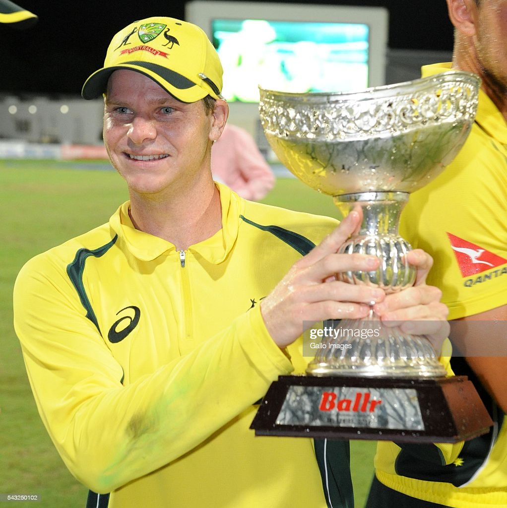Steven Smith of Australia during the Tri-Nation Series One-day International (ODI) Final between West Indies and Australia at the Kensington Oval on June 26, 2016 in in Bridgetown, Barbados.