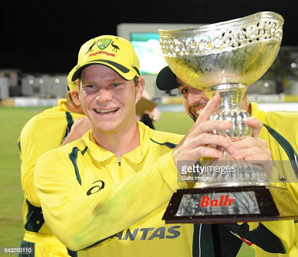 Steven Smith of Australia during the TriNation Series Oneday International Final between West Indies and Australia at the Kensington Oval on June 26...