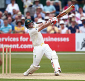 Steven Smith of Australia hits out during day two of the tour match between Kent and Australia at The Spitfire Ground St Lawrence on June 26 2015 in...