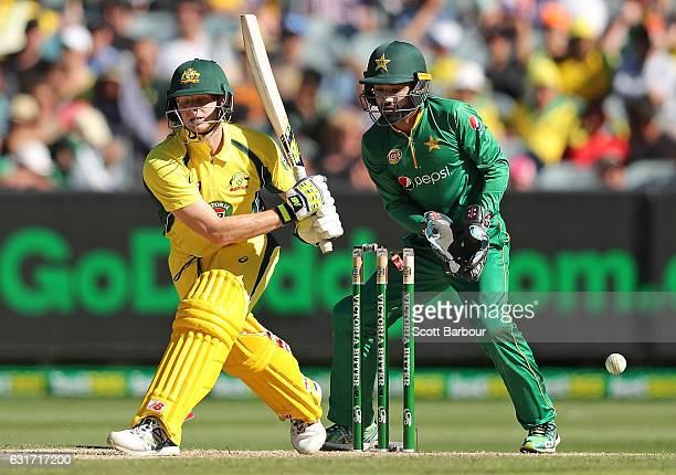 Steven Smith of Australia is bowled out by Imad Wasim of Pakistan during game two of the One Day International series between Australia and Pakistan...