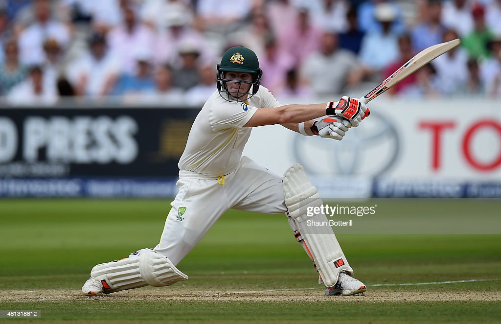 Steven Smith of Australia plays a shot during day four of the 2nd Investec Ashes Test match between England and Australia at Lord's Cricket Ground on...