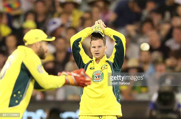 Steven Smith of Australia reacts in the field during game two of the One Day International series between Australia and Pakistan at Melbourne Cricket...
