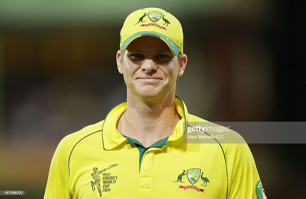 Steven Smith of Australia smiles during the 2015 Cricket World Cup Semi Final match between Australia and India at Sydney Cricket Ground on March 26...