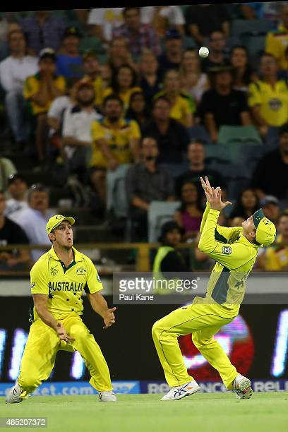 Steven Smith of Australia takes a catch to dismiss Asghar Stanikzai of Afghanistan during the 2015 ICC Cricket World Cup match between Australia and...